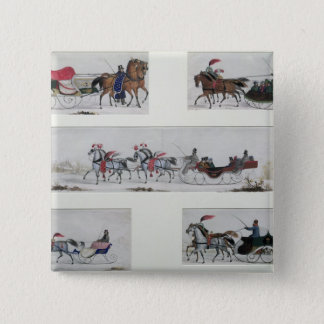 Russian Horse Drawn Sleighs Pinback Button