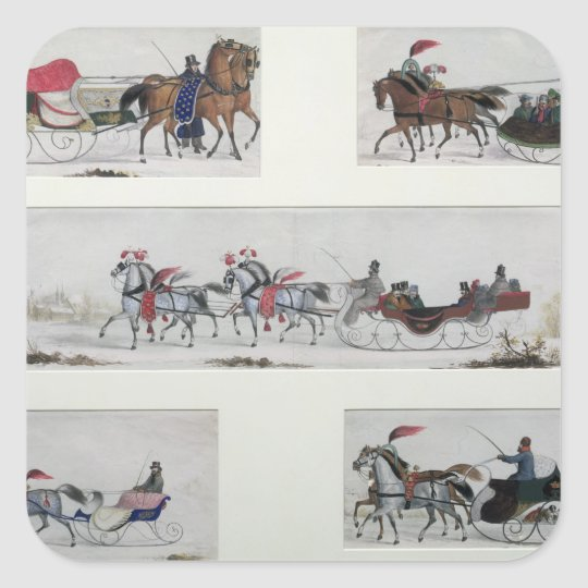 Russian Horse Drawn Sleighs Square Sticker