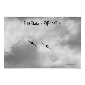Russian I-16 and Luftwaffe Bf-109 Poster