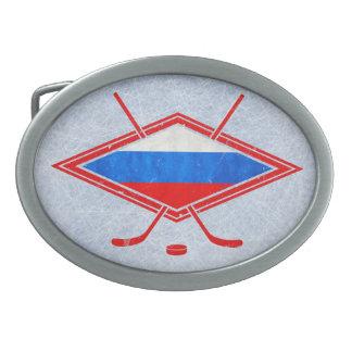 Russian Ice Hockey Flag Oval Belt Buckle