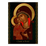 Russian icon Christmas card with Theotokos
