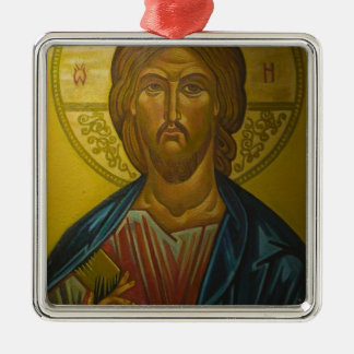 Russian Icon inside Church of St. Sophia / Square Metal Christmas Ornament
