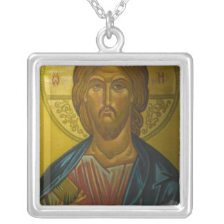 Russian Icon inside Church of St. Sophia / Square Pendant Necklace