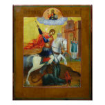 Russian Icon of St. George and the Dragon Poster