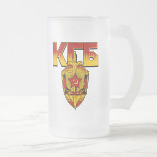 Russian KGB Badge Soviet Era Frosted Glass Beer Mug