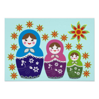 Russian Matryoshka Doll In Sunflowers Posters