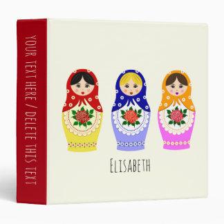 Russian matryoshka dolls 3 ring binder
