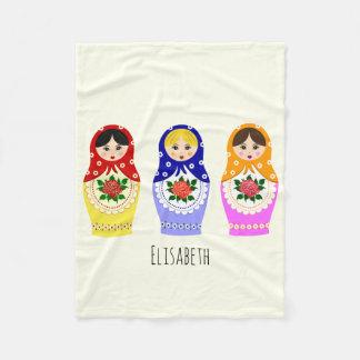Russian matryoshka dolls fleece blanket