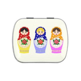 Russian matryoshka dolls jelly belly candy tin