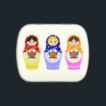 """Russian matryoshka dolls jelly belly tin<br><div class=""""desc"""">A matryoshka doll, also known as a Russian nesting doll, or Russian doll, is a set of wooden dolls of decreasing size placed one inside another. The name &quot;matryoshka&quot;, literally &quot;little matron&quot;, is a diminutive form of Russian female first name &quot;Matryona&quot; or &quot;Matriosha&quot;. A set of matryoshkas consist of a...</div>"""