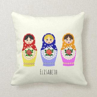 Russian matryoshka dolls throw pillow