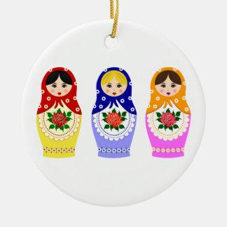 Russian matryoshka nesting dolls ceramic ornament