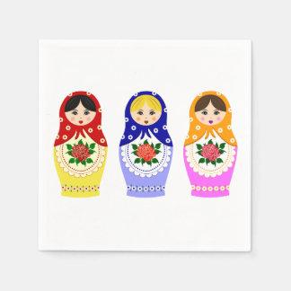 Russian matryoshka nesting dolls napkin