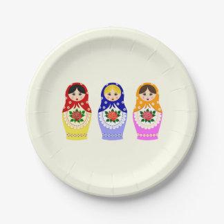 Russian matryoshka nesting dolls paper plate