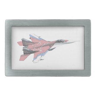Russian MiG jet fighter aircraft Rectangular Belt Buckle