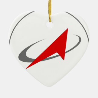 Russian military Federal Space Agency Roscosmos Double-Sided Heart Ceramic Christmas Ornament