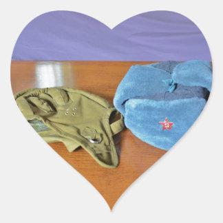 Russian Military Hats Heart Sticker