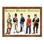 Russian Military Uniforms Postcard