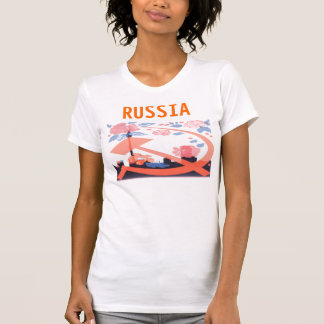 Russian Moscow city scape with USSR Hammer T-Shirt