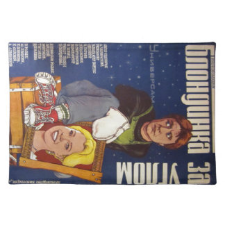 """Russian movie Poster """"Blondinka za Uglom""""(Blonde) Cloth Placemat"""