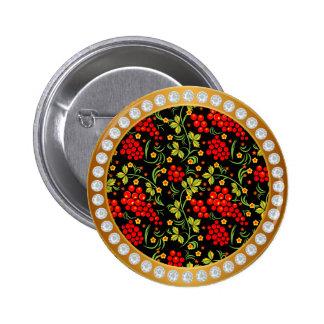 Russian national pattern Hohloma Pinback Button