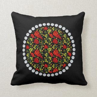 Russian national pattern Hohloma Throw Pillow