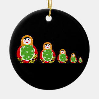 Russian nesting doll Double-Sided ceramic round christmas ornament