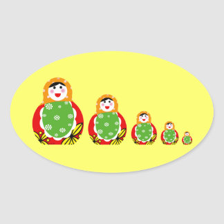 Russian nesting doll oval stickers
