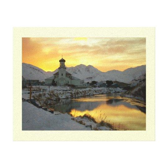 Russian Orthdox Church, Winter Sunrise Canvas Print