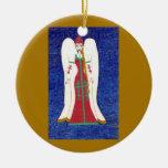 Russian Orthodox Angel Ornament - Ceramic Round