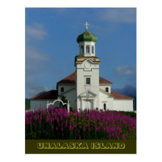 Russian Orthodox Church in Summer with Fireweed Postcard