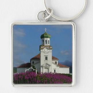 Russian Orthodox Church~ Unalaska, AK Silver-Colored Square Keychain