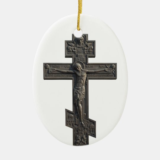 Russian orthodox cross ceramic ornament