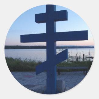 Russian Orthodox Cross Classic Round Sticker