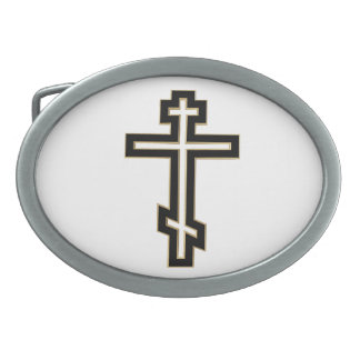 Russian orthodox cross oval belt buckle