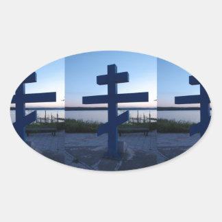 Russian Orthodox Cross Oval Sticker