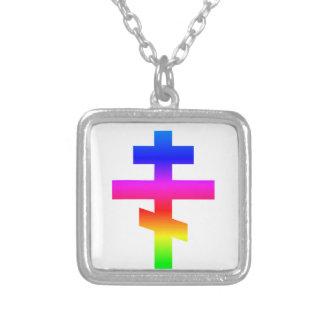 Russian Orthodox Cross Square Pendant Necklace