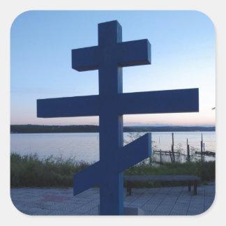 Russian Orthodox Cross Square Sticker