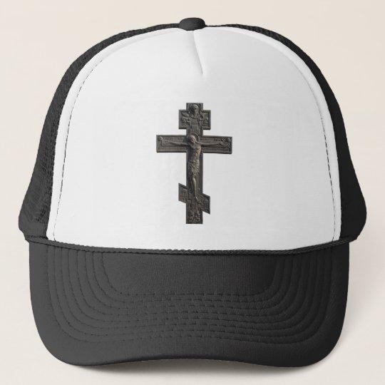 Russian orthodox cross trucker hat