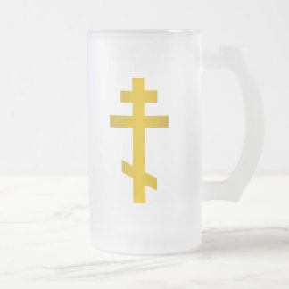 Russian Orthodox Frosted Glass Beer Mug