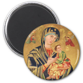 Russian Orthodox Icon - Virgin Mary and baby Jesus 2 Inch Round Magnet