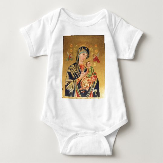 Russian Orthodox Icon - Virgin Mary and baby Jesus Baby Bodysuit