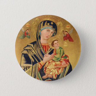 Russian Orthodox Icon - Virgin Mary and baby Jesus Button