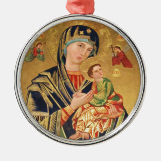 Russian Orthodox Icon - Virgin Mary and baby Jesus Metal Ornament