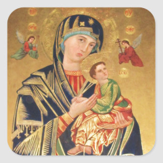 Russian Orthodox Icon - Virgin Mary and baby Jesus Square Sticker