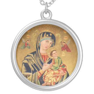 Russian Orthodox Icon - Virgin Mary and baby Round Pendant Necklace
