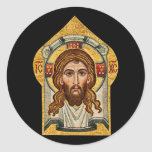 Russian orthodox mosaic icon classic round sticker