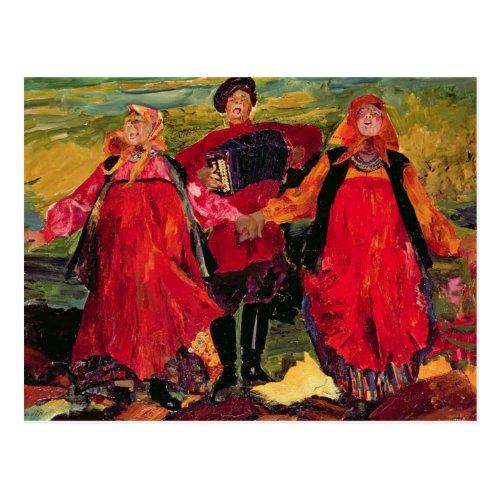 Russian Peasants Singing Postcard