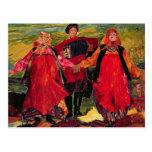 Russian Peasants Singing Postcards