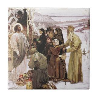Russian Priests and Peasants Worship Jesus Ceramic Tile